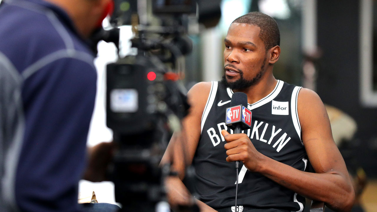 NEW YORK, NEW YORK - SEPTEMBER 27: Kevin Durant #7 of the Brooklyn Nets speaks to media during Brooklyn Nets Media Day at HSS Training Center on September 27, 2019 in the Brooklyn Borough of New York City.