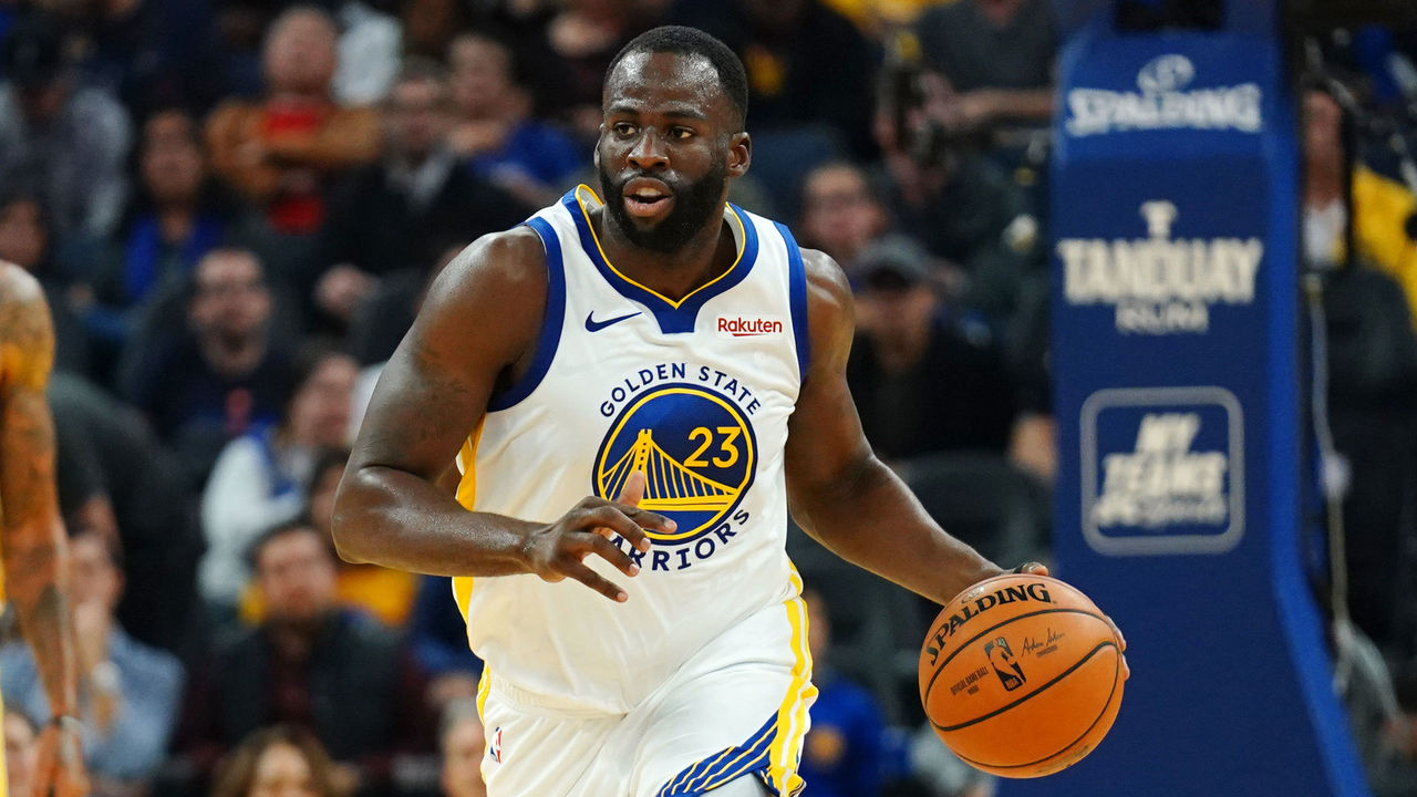 SAN FRANCISCO, CALIFORNIA - NOVEMBER 11: Draymond Green #23 of the Golden State Warriors dribbles during the first half against the Utah Jazz at Chase Center on November 11, 2019 in San Francisco, California. NOTE TO USER: User expressly acknowledges and agrees that, by downloading and/or using this photograph, user is consenting to the terms and conditions of the Getty Images License Agreement.