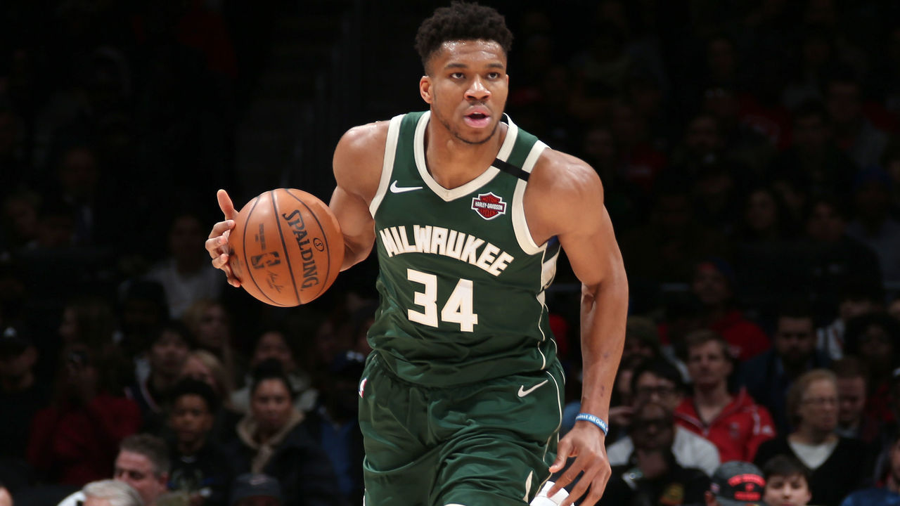 WASHINGTON, DC - FEBRUARY 24: Giannis Antetokounmpo #34 of the Milwaukee Bucks handles the ball during the game against the Washington Wizards on February 24, 2020 at Capital One Arena in Washington, DC. Mandatory Copyright Notice: Copyright 2020 NBAE