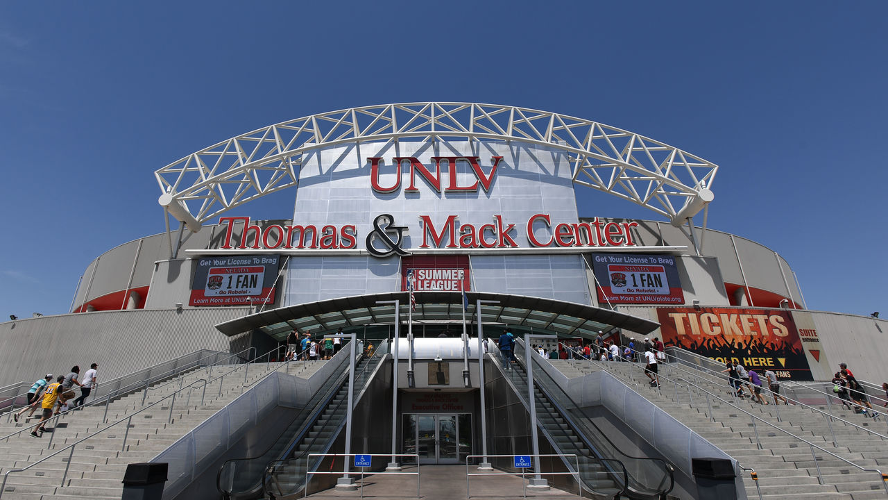 LAS VEGAS, NV - JULY 7: An outside view of the Thomas & Mack Center on July 7, 2017 at the Thomas & Mack Center in Las Vegas, Nevada. NOTE TO USER: User expressly acknowledges and agrees that, by downloading and/or using this Photograph, user is consenting to the terms and conditions of the Getty Images License Agreement. Mandatory Copyright Notice: Copyright 2017 NBAE
