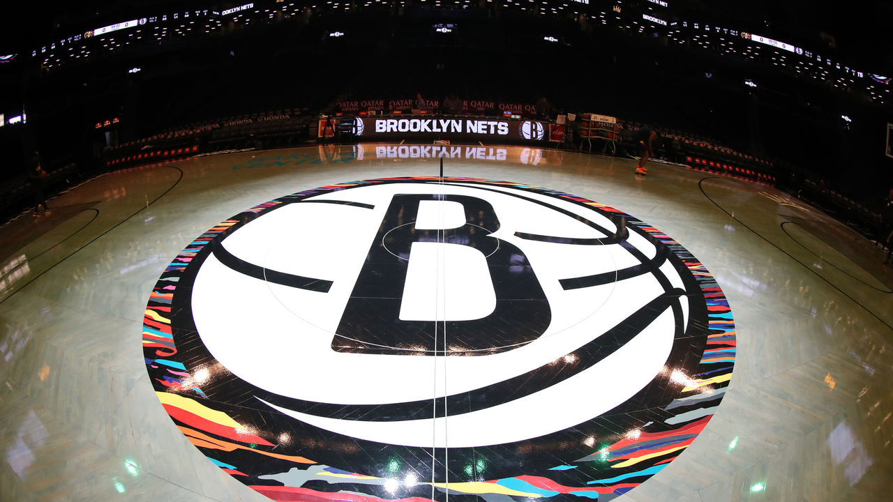 BROOKLYN, NY - DECEMBER 8: A close up shot of the Brooklyn Nets half court logo on December 8, 2019 at Barclays Center in Brooklyn, New York. Mandatory Copyright Notice: Copyright 2019 NBAE