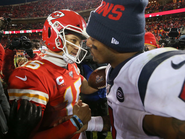 KANSAS CITY, MISSOURI - JANUARY 12: Patrick Mahomes #15 of the Kansas City Chiefs and Deshaun Watson #4 of the Houston Texans shake hands following the AFC Divisional playoff game at Arrowhead Stadium on January 12, 2020 in Kansas City, Missouri.