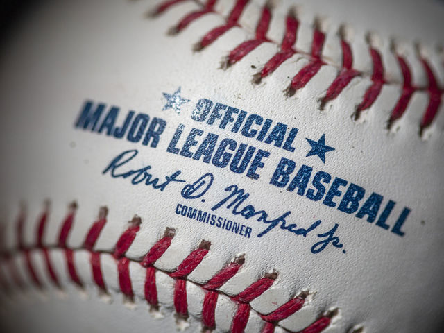 MAY 19 An official Rawlings Major League Baseball for the 2020 Major League Baseball season showing the red stitching and markings and the signature of MLB commissioner Rob Manfred on the19th May 2020