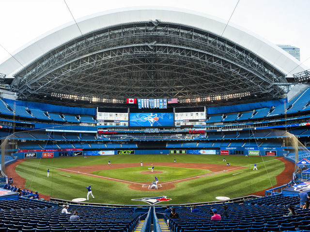 TORONTO ON - JULY 09 Toronto Blue Jays players take part in an intrasquad game at Rogers Centre on July 9 2020 in Toronto Canada