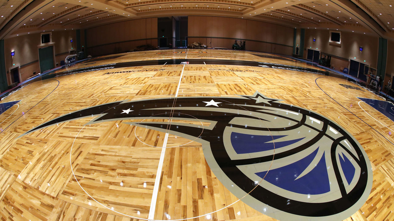 ORLANDO, FL - JULY 2: A general overall view the Orlando Magic practice courts being set up as part of the NBA Restart 2020 on July 2, 2020 in Orlando, Florida. NOTE TO USER: User expressly acknowledges and agrees that, by downloading and/or using this photograph, user is consenting to the terms and conditions of the Getty Images License Agreement. Mandatory Copyright Notice: Copyright 2020 NBAE