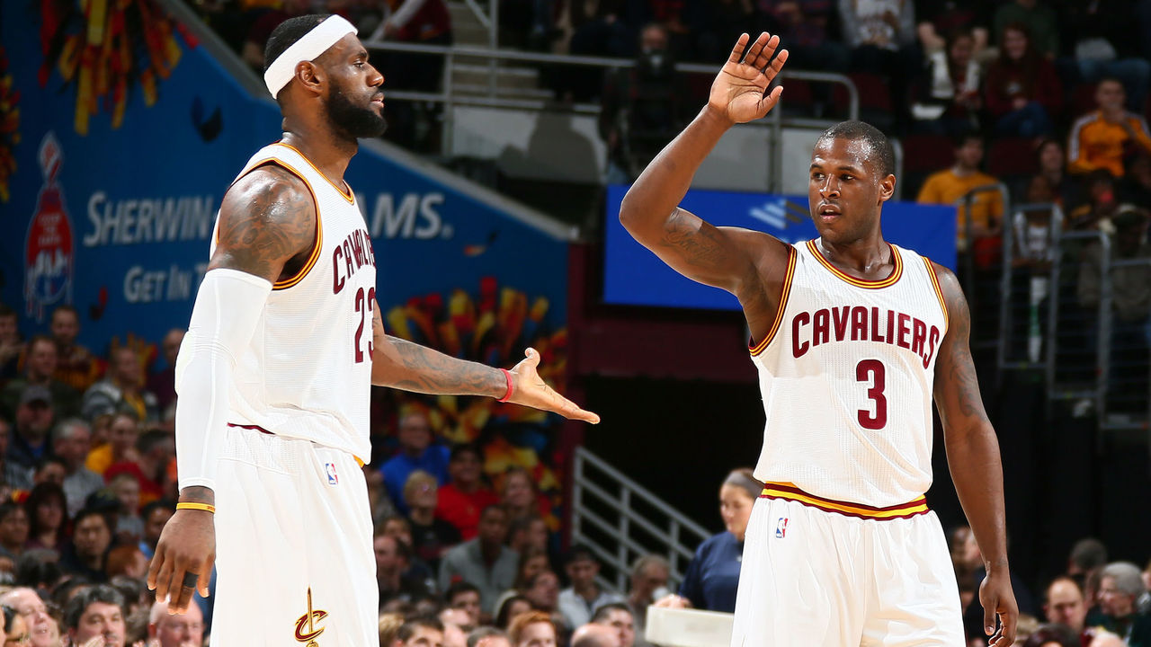 CLEVELAND, OH - DECEMBER 23: Dion Waiters #3 and LeBron James #23 of the Cleveland Cavaliers celebrate during the game against the Minnesota Timberwolves on December 23, 2014 at Quicken Loans Arena in Cleveland, Ohio. Mandatory Copyright Notice: Copyright 2014 NBAE