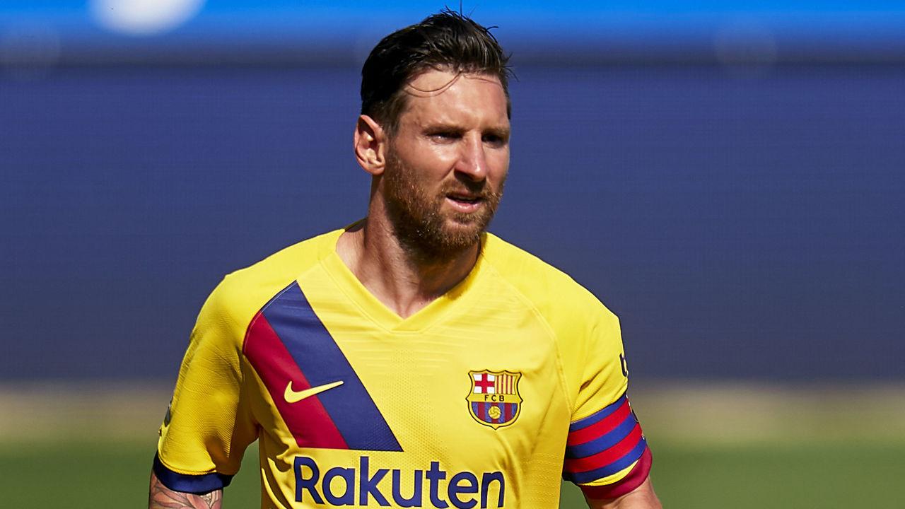 VITORIA-GASTEIZ, SPAIN - JULY 19: Lionel Messi of FC Barcelona looks on during the Liga match between Deportivo Alaves and FC Barcelona at Estadio de Mendizorroza on July 19, 2020 in Vitoria-Gasteiz, Spain.