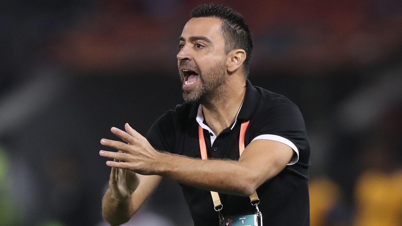 Sadd's coach Xavi reacts during the 2019 FIFA Club World Cup football match between Qatar's Al-Sadd and New Caledonia's Hienghene Sport at the Jassim Bin Hamad Stadium in the Qatari capital Doha on December 11, 2019.