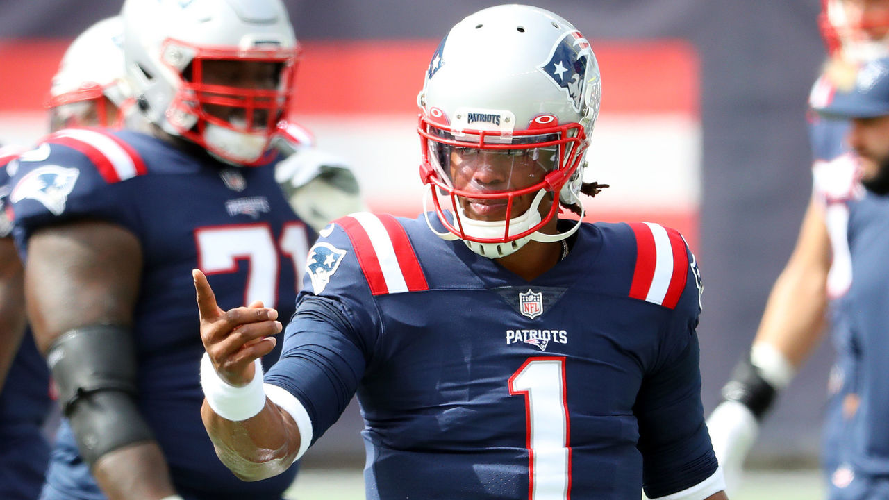 FOXBOROUGH, MASSACHUSETTS - SEPTEMBER 27: Cam Newton #1 of the New England Patriots reacts before the game against the Las Vegas Raiders at Gillette Stadium on September 27, 2020 in Foxborough, Massachusetts.