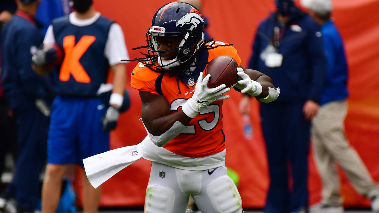 DENVER, CO - SEPTEMBER 27 : Denver Broncos RB Melvin Gordon III is in action during 2nd quarter of the game against Tampa Bay Buccaneers at Empower Field at Mile High in Denver, Colorado on Sunday. September 27, 2020.
