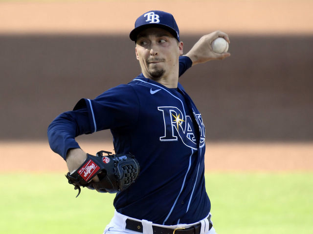 SAN DIEGO CALIFORNIA - OCTOBER 16 Blake Snell 4 of the Tampa Bay Rays pitches against the Houston Astros during the first inning in Game Six of the American League Championship Series at PETCO Park on October 16 2020 in San Diego California
