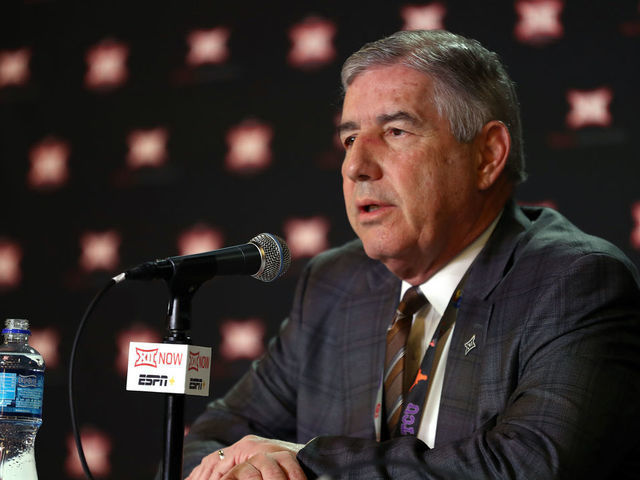 KANSAS CITY MISSOURI - MARCH 12 Big Twelve Commissioner Bob Bowlsby speaks to the media to announce the cancellation of the tournnament prior to the Big 12 quarterfinal game at the Sprint Center on March 12 2020 in Kansas City Missouri