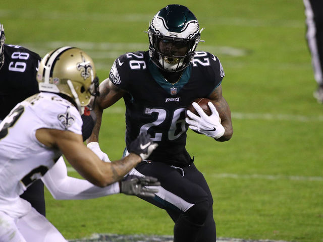 PHILADELPHIA PA - DECEMBER 13 Philadelphia Eagles Running Back Miles Sanders 26 carries the ball in the first half during the game between the New Orleans Saints and Philadelphia Eagles on December 13 2020 at Lincoln Financial Field in Philadelphia PA